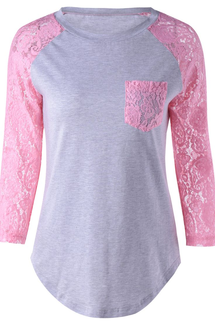 $12.86 Fashionable Long Sleeves Scoop Neck Splice Lace T-Shirt For Women