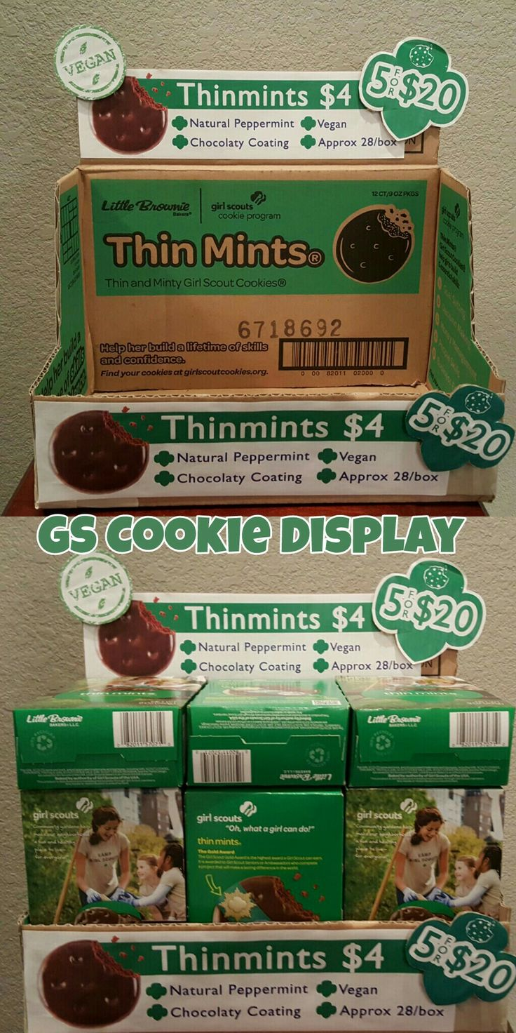 Girl Scout Cookie Display made from cookie case! Flip the box inside out and add some print outs to decorate! Fill it with cookie boxes and you'll have a cute display! Happy scouting!