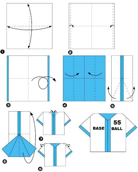 Diagramme d'origami de vêtement de sport, étape 1