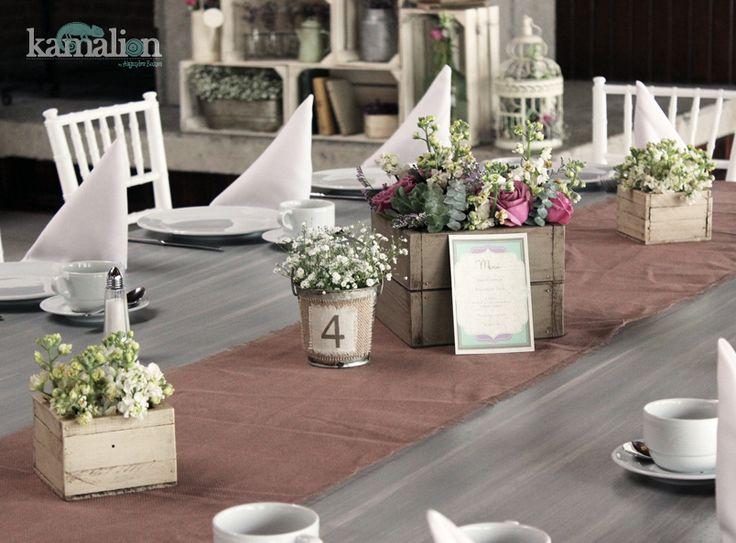 Decoraci n vintage rustic mint - Centros de mesa para bautizo economicos ...