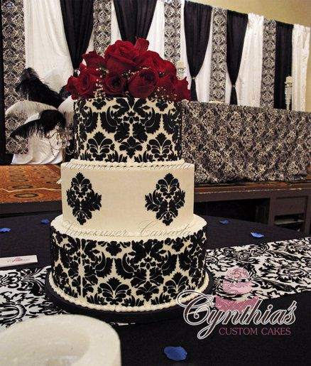 Damask Wedding Cake  Cake by Cynthia Jones