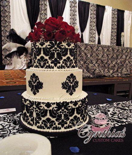 Damask Wedding Cake  Cake by Cynthia Jones