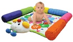 Rubber baby buggy bumpers... say that 5 times! With this mat, baby can't roll out of bounds!