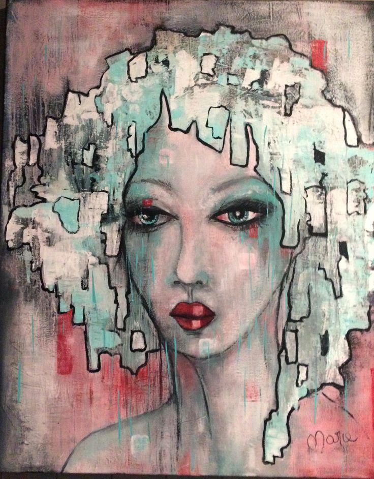 création Marie Poirier médium acrylique format 24x30....