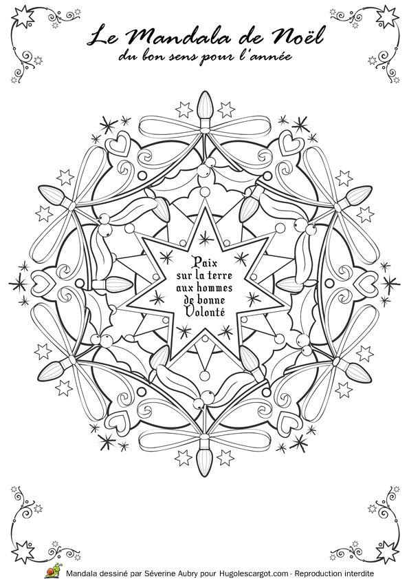 Coloriage / dessin Mandala de Noël Paix sur la Terre aux hommes de bonne volonté