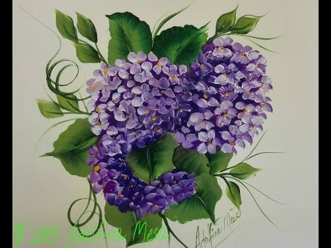 HORTENSIAS -HYDRANGEAS, PINTURA MULTICARGA, PINTURA DECORATIVA - YouTube