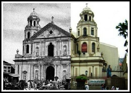 Quiapo Church (Minor Basilica of the Black Nazarene) then and now photo SEE MORE: http://www.filipiknow.net/then-and-now-photos-of-manila/