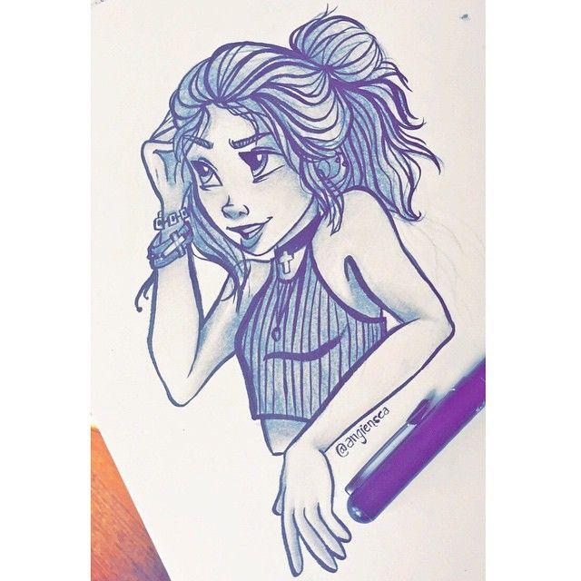 First drawing with my new pentel pocket brush pen!  #angiensca #myart #traditionalart #girl #pentelpocketbrushpen #art