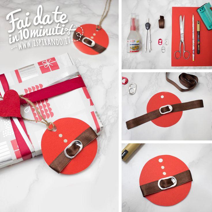 Creare etichette Babbo Natale con le linguette delle lattine - DIY Santa label with recycle of flip part of can • #DIY #can #christmas #decoration #recycle #santa