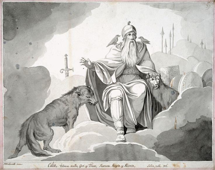 Odin représenté avec ses loups Geri et Freki et ses corbeaux Hugin et Munin par l'artiste danois Johannes Wiedewelt ((1731-1802) pour illustrer le drame Balders Død (La Mort de Baldr) de Johannes Ewald (1770). Pour en savoir plus : http://www.fafnir.fr/odin.html.
