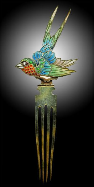 Swallow Hair Comb, c. 1900.  . . .   Gilded silver & plique-a-jour enamel  Fitted case