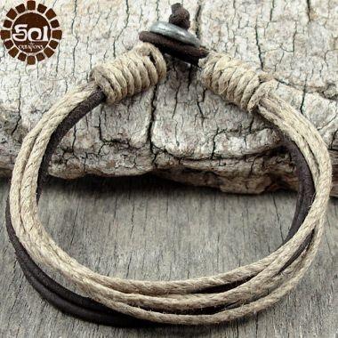 Mens Leather Bracelet Hemp Cord Brown Surfer Cuff Earthy Eco Surf Natural Sol | eBay