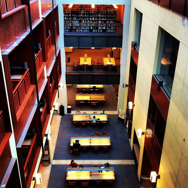 Stauffer library where many students spend time studying!  Photo: @kylerosedinkus #instagram