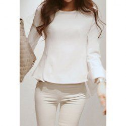$13.31 Modern Style Asymmertric Back Hem Scoop Neck Long Sleeve Thicken Cotton Shirt For Women