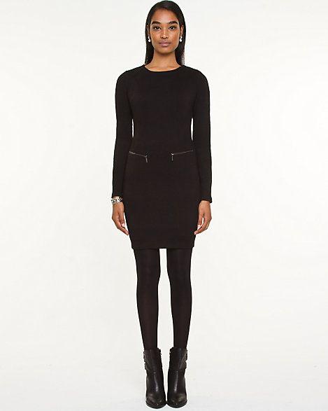 Jacquard Knit Long Sleeve Mini Dress
