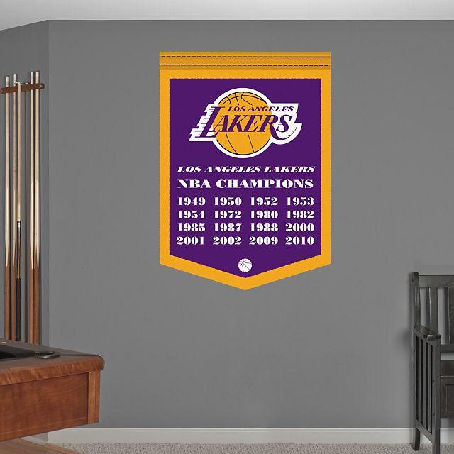 Los Angeles Lakers NBA Champions Banner REAL.BIG. Fathead U2013 Peel U0026 Stick  Wall