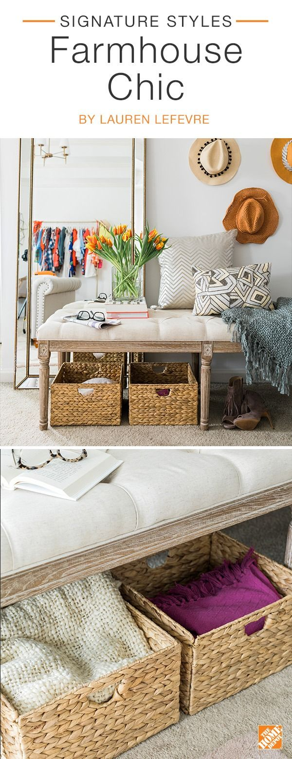 Fashion blogger Lauren Lefevre adds a touch of farmhouse  style to her on-trend master bedroom by combining a beige tufted linen bench with natural fiber baskets. A glamorous  metallic floor mirror and geometric-patterned throw pillows combine to give this classic look a modern twist. Click to see more farmhouse decor on sale now during The Home Event.
