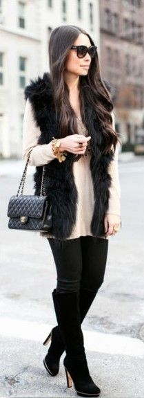 Get this look with CAbi's Fall '14 faux fur Infinite Vest, Serene Tee or Allure…