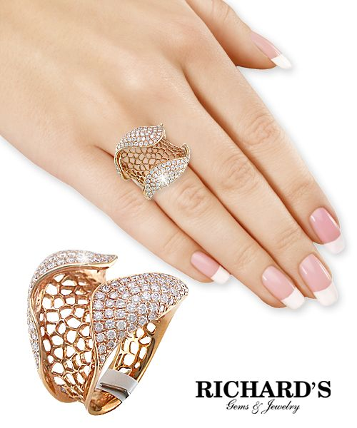 Wide Diamond Weave Ring in 18K Rose Gold