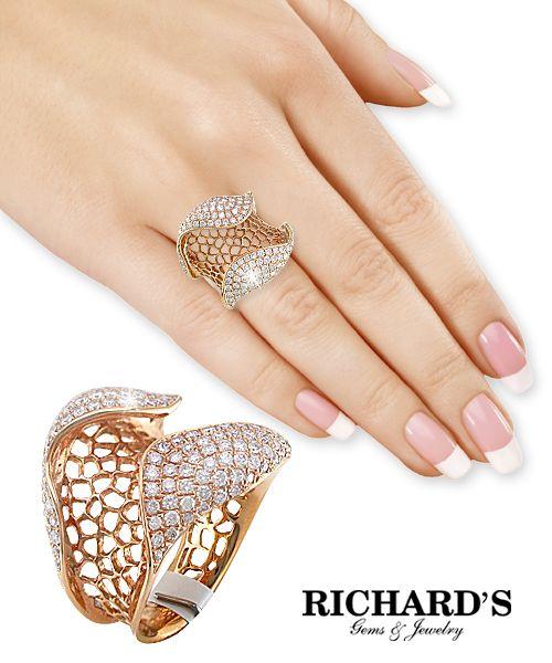 Wide Diamond Weave Ring in 18K Rose Gold