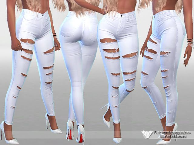 Sims 4 CC's - The Best: White Ripped Summer Jeans by Pinkzombiecupcake