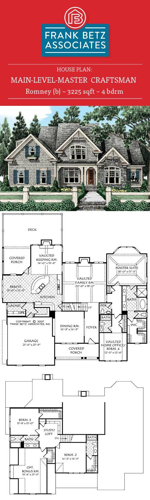 Romney b 3225 sqft 4 bdrm main level master · plans de la maison