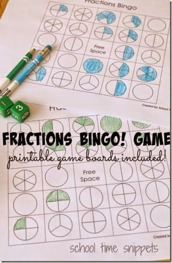 FREE! Fractions Bingo Game - This is such a fun, clever way to help kids learn about fractions with a math game (2nd -5th grade)