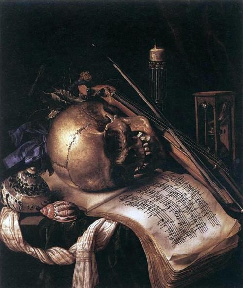 Vanitas  (macabre) - A still life. A very, very still life. Simon Renard de St. André (1613 or 1614-1677) was a painter and copperplate engraver born in the 17th century in France. In his lifetime, he was regarded as a highly skilled portraitist. [1] He is remembered today for his vanitas paintings, which contain symbols that remind the viewer of the transcience of life and wealth.