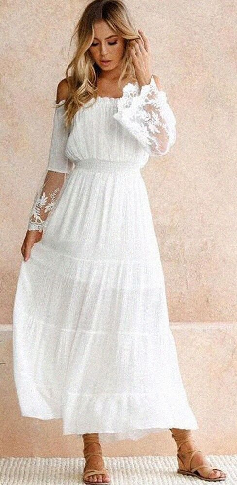 8ae72e4725f4ca Bohemian Fairy Off Shoulder White Maxi Dress. Women fashion. Bohemian summer  dresses. Boho dresses. Beach fashion & Bohem style. Boho fashion.