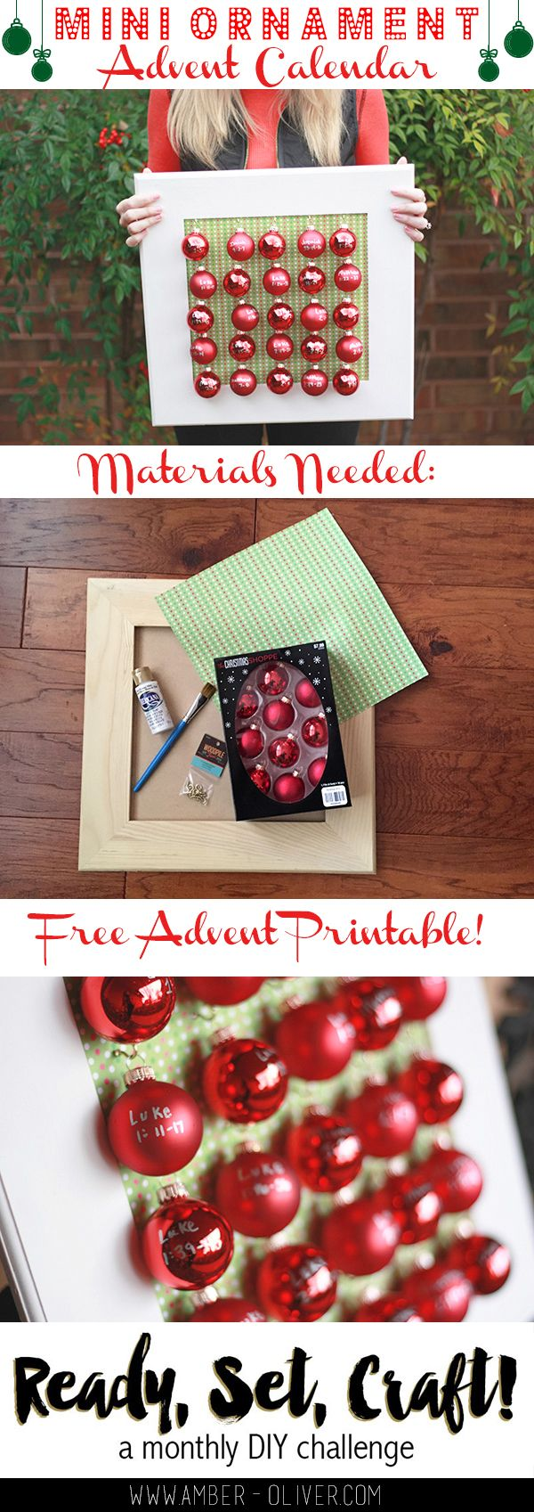 Use mini ornaments to make an advent calendar! | Amber-Oliver.com