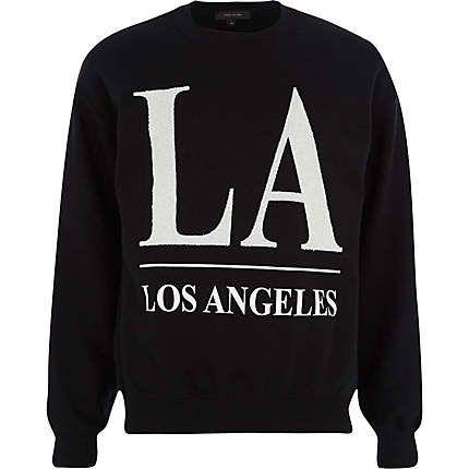 Black LA beaded print sweatshirt £25.00
