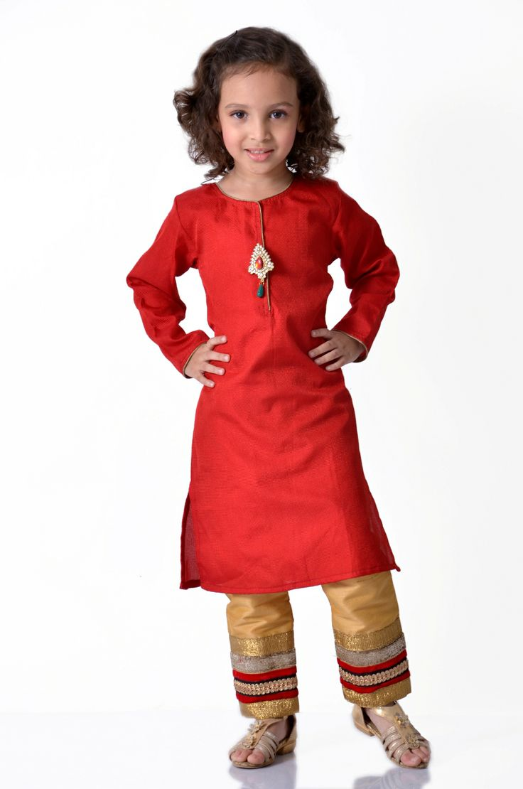 Red & Gold Indowestern Outfit  Try this smart indowestern outfit in red and gold…the pants with borders and a long kurta with a metal and kundan broach….  http://goo.gl/qIgBhb