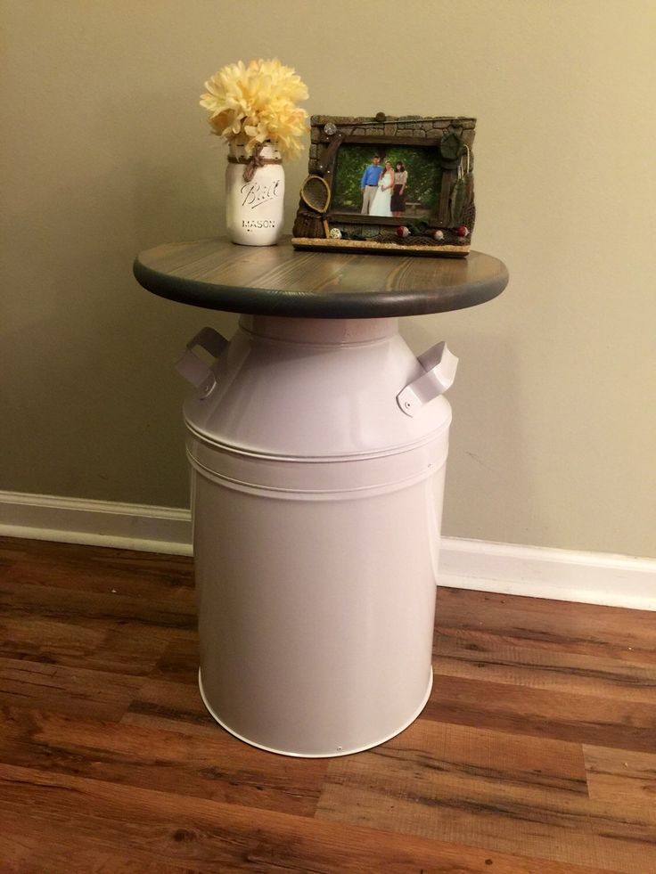 White milk jug, wood end table, rustic end table, rustic table, milk can, night stand, side table, plant stand by countrycornergoods on Etsy https://www.etsy.com/listing/264049087/white-milk-jug-wood-end-table-rustic-end