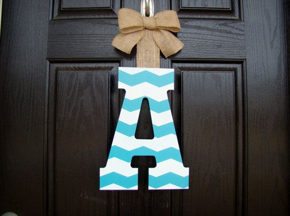 Chevron Painted Letter Door Hanger- Customized to any decor- You choose the colors! on Etsy, $21.00