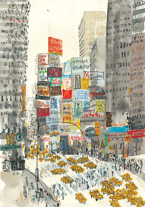 An illustrated Times Square, New York by Clare Caulfield. (Strange to see it without all the flashing lights, isn't it?)