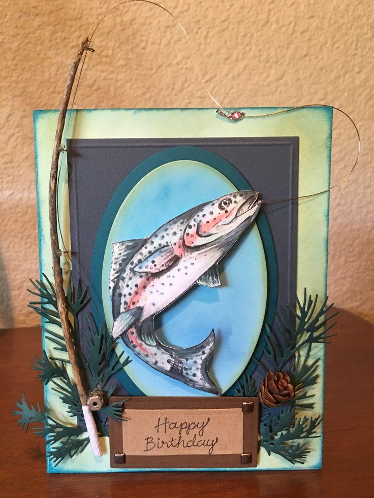 Днем рождения, скрапбукинг открытки для рыбака