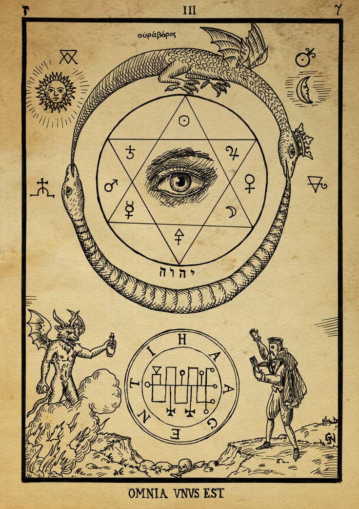 Alchemy woodcut Omnia Unus Est  Artist: Dashinvaine / Sacred Geometry <3