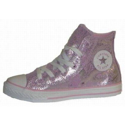 Converse Kids Chucks Hi Leder Roseshadow Silverpinsstripes