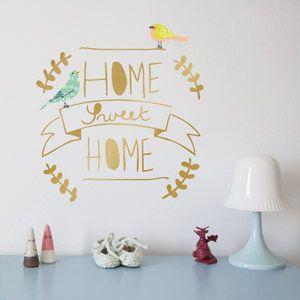 Sticker mural en vinyle doré Home Sweet Home Mimi Lou