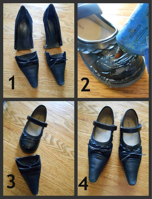 Drab to Fab - old adult female shoe tips glued onto old little girls' shoe = great new new for clown or witch or some dress-up!