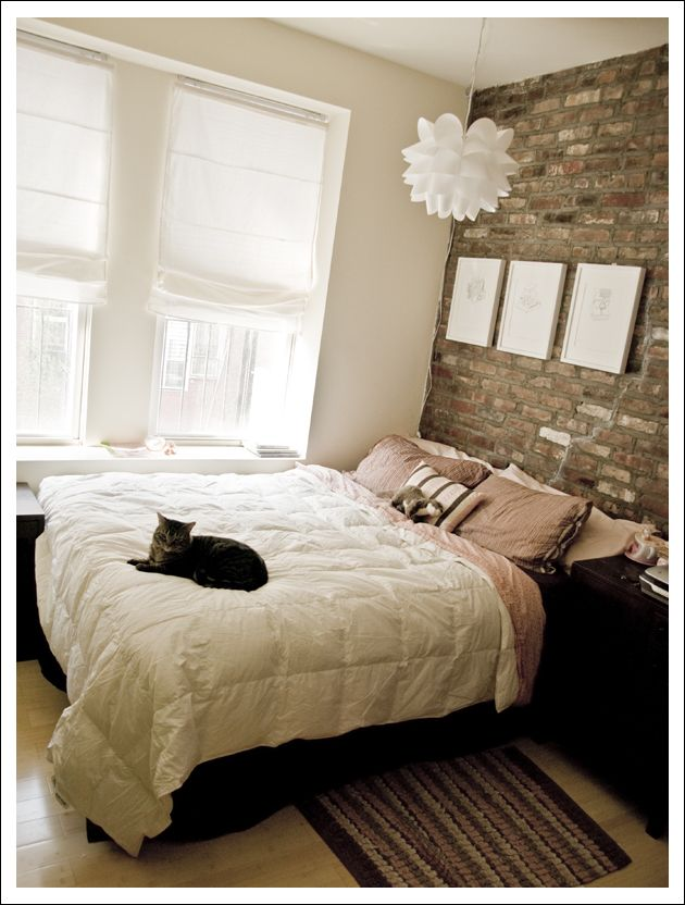 137 best headboard ideas images on pinterest headboard for Brick accent wall bedroom