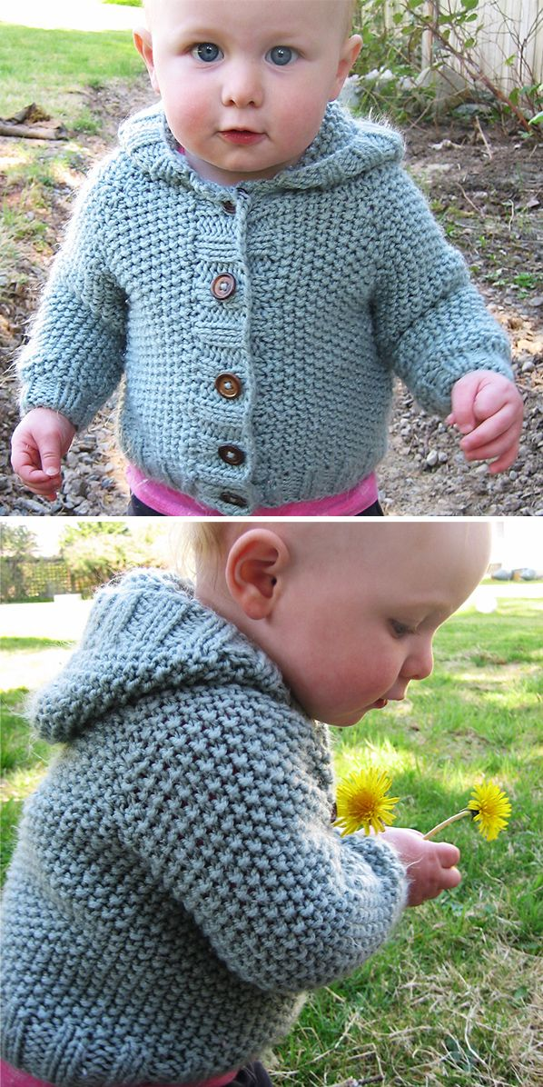 960dfd2dcd14 Knitting Pattern for Manda Ruth Baby Hooded Cardigan - This baby ...
