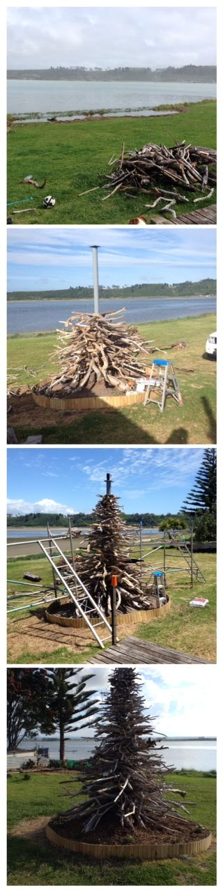 Driftwood Christmas tree, started as a ugly tree stump took 2 weeks to build, 3 trailer loads of driftwood from 3 beaches. and finished with 1,750 solar lights and planted with red and white flowers around base. LOVED making it was like a giant puzzle! next project a outdoor mosaic sofa looking out to the water. made with love by Jennifer (Pukehina Beach New Zealand)