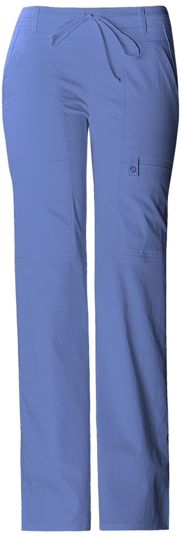 A Junior fit low-rise, flare leg, adjustable front drawstring pant with back elastic waist, has a novelty yoke at the hip, front angled pockets, cargo pockets on both legs. Additionally, the left pocket has a instrument loop with a functional logo snap. A side seam panel at the back leg, side vents, and double needle topstitching complete this innovative pant. Inseam: 31""