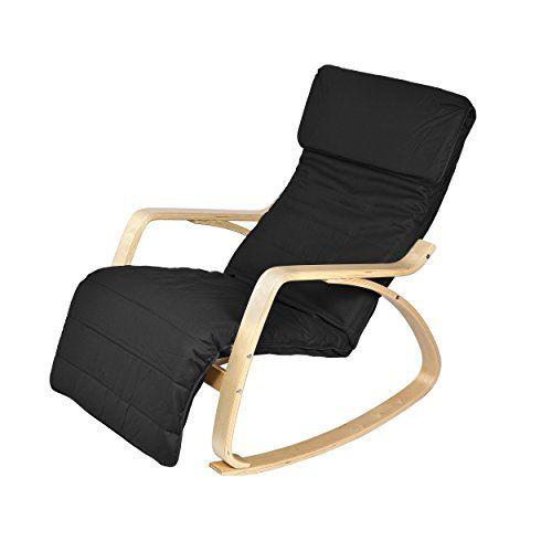 Harima   Colmar Birch Black Rocking Chair Relaxing Comfortable Cotton  Fabric Reclining Lounge Nursing Conservatory Armchair