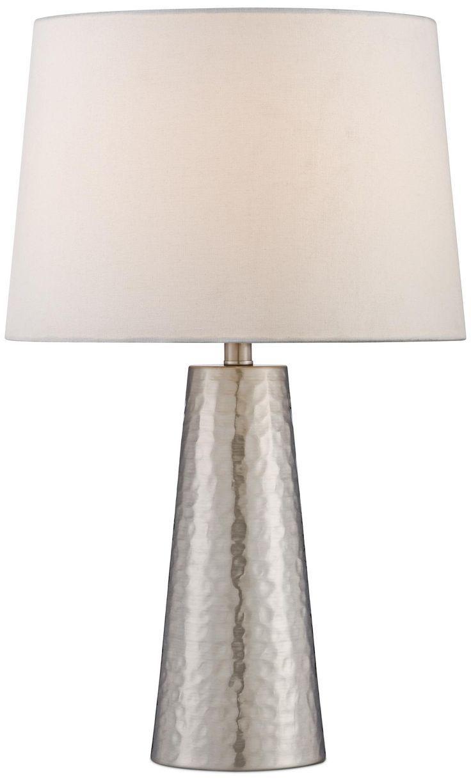 Silver Leaf Hammered Metal Cylinder Table Lamp -