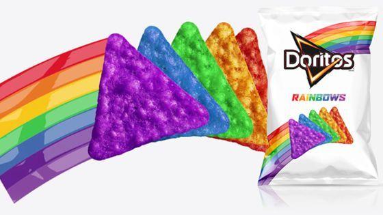 """Rainbows Doritos (Doritos Arco-Íris) É uma edição limitada e apoio aos direitos LGBT. """"não há nada mais ousado do que ser você mesmo"""", diz o tema da campanha."""
