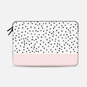 Macbook Air 13 Sleeve Pastel pink black watercolor polka dots pattern