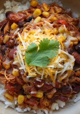 Crock Pot Chicken Taco Chili - So easy and very good - esp. with a dollop of sour cream, some shredded cheese, and a little cilantro.  A keeper!