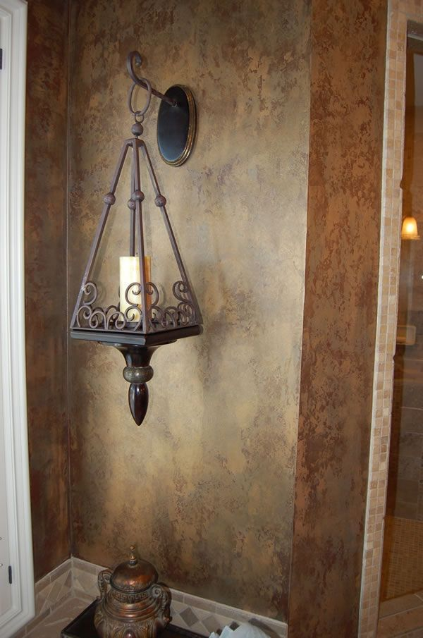 Old-World-Tuscan Bathroom Idea: Hanging Candle Holder: Faux finish walls.